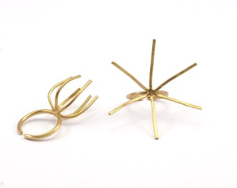 Brass Ring Blank, 5 Raw Brass 6 Claw Ring Blanks For Natural Stones N045