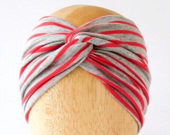 Turban Twist Headband Women Twist Turban Headband Striped Headband Extra Wide Headband Yoga Headband- Hair Wrap Headband Bandana Wrap Gray