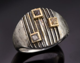 Striped Amor Ring 3 Rough Diamond Cubes 14k Yellow Gold Square Bezels Sterling Silver Ring -  Rough Diamond Ring