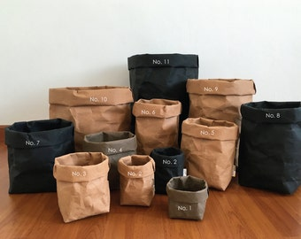 Storage Basket : Kraft Paper Storage / Kitchen Basket / Laundry Bag / Eco Bag / Paper Bag / Paper Basket / Stationary / Washable Paper Bag