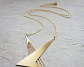 Sale 20% OFF Long Calatrava Necklace, Geometric necklace, signature necklace, Architectural jewelry,