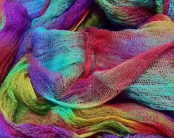 Hand Dyed Lightweight Open Weave Cotton Gauze/Scrim for nuno felting. 100 cm x 120 cm
