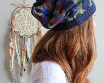 Boho Patterned Slouchy Beanie Hat Bohemian Hippie Printed Winter Hat Recycled Sweater