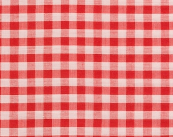 Red and white gingham Cotton, 45 inches wide, Sold by the yard, Quilting, Blouse, shirt, dress, Country Western, Shabby Chic