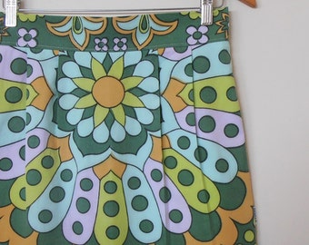 flower power in greens...vintage tablecloth high waist straight skirt with side seam pockets