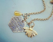 Bee Kind Antique Brass Honeycomb Necklace