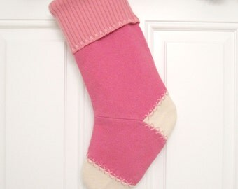 Pink Knit Customized Christmas Stocking Personalized Holiday Decoration Handcrafted from Felted Wool Sweaters no744