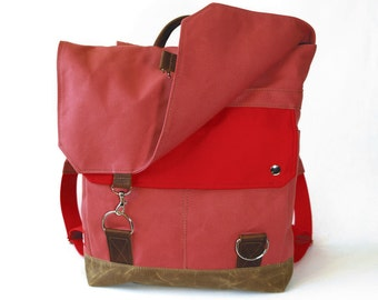 Waxed Canvas Backpack / Recycled Red Wool & Bubblegum Canvas w/ Padded Straps