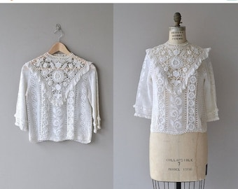 25% OFF.... Highclere lace blouse | vintage 1970s crochet blouse | Edwardian-inspired crochet top
