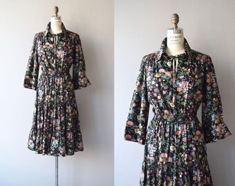 Secret Garden dress | vintage 1970s dress | black floral 70s dress