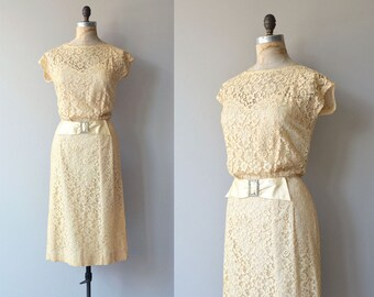 Aphrodisia dress | vintage 1950s dress | cream lace 50s dress