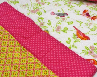 "baby quilt- birds in yellow, pink, orange, green and turquoise ""Sunny morning"",Ready to ship, SHIPS FREE to USA"