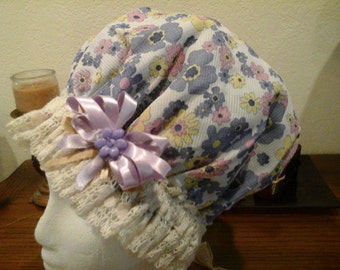 Fanycy Pink and Blue Floral Shower Cap with Antique Beige Cotton Lace Med. Free Shipping