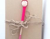 "Doll Pencil Wooden in Linen ""Valentine 6"", Hand Painted Pencil, Handcrafted Pencil, Decorated Doll Pencil,"
