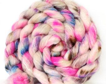 Rose Quartz 6 oz Panda Top Merino/ Bamboo/ Nylon Superwash roving for spinning