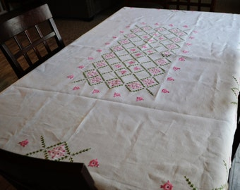 Vintage Tablecloth Hand Embroidered Pink on Linen