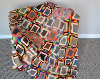 Vintage Granny Square Afghan Rainbow and Wool Patches
