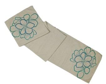 "Blue Flower Table Runner, Natural Linen BlueFlower Embroidered, Long Table Runner 14"" x 64"", Wedding Table Linen, Modern Table top"