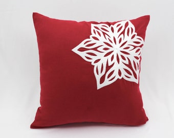 Snowflakes Decorative Pillow Cover, Throw Pillow Cover, Red Linen White Snowflakes Embroidery, Holiday Pillow Cover, Red White Pillow Accent