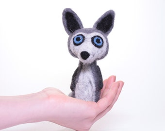 Needle Felted Wool Felt Wolf Toy Gift Sculpture