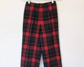 Vintage 1970s Preppy / Pendleton Plaid Virgin Wool Pants / High Waisted