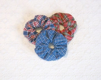 Preppy Red White Blue Tartan Plaid Scrunchie Set of 3