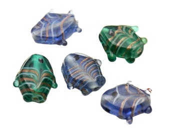 Set of 5 Glass Lampwork Animal Shaped Beads - Gold Striped Sea Green / Ocean Blue Fish