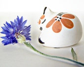 Vintage Signed S.C Acoma Cat Painted Pottery Miniature Animal Figurine dated 6/93 Sleeping Kitten, Pueblo Pottery Indian made Art
