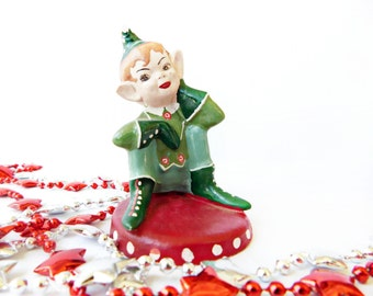 Vintage Early Painted Chalkware Christmas Elf /  Pixie Figurine ,Hand painted Santa's Little Helper , Sitting in thought, 1950's Era RARE