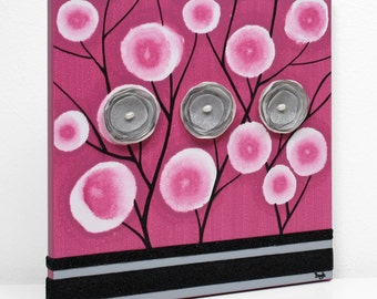 Mixed Media Painting of Poppy Flowers on Fuchsia and Black Canvas Wall Art - Small 10x10