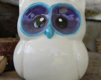 Ceramic  Owl Statue in purple turquoise   Baby   Owl Nursery decoration baby, home or garden statue cm