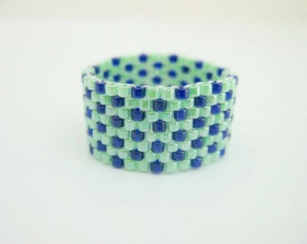 Peyote Ring/ Beaded Ring in Blue and Green Limeade / Seed bead Ring / Delica Ring / Custom Made Ring / Beadwoven Ring