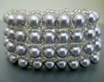 Pearl Bracelet  / Beaded Bracelet in Lavender /  Swarovski Pearl Bracelet /  Beadwoven Bracelet / Seed Bead Bracelet / Beadwork Bracelet