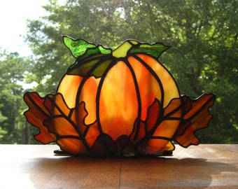 Autumn Harvest Stained Glass Tea Light Holder no. 3 Stained Glass Pumpkin Fall Candle Holder Halloween Candle Holder Pumpkin Tealight Holder