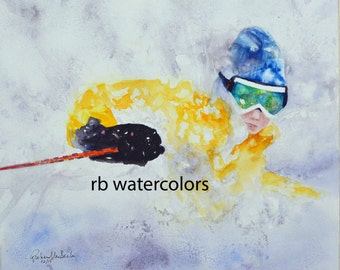 SKI ART PRINT (8x10 ski painting)  snow art print / snow print / winter painting / cabin decor/gift for skier/gift for man