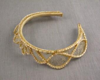 Antique Baby Headband Lace & Bead Tiara Vintage Beaded Estate Find