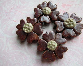 Handcrafted Pendant ,ArtBeads, Marsala Posies, Artisan Clay Beads, Ceramic Pendants, Ceramic Beads, The Classic Bead, tracee, Pottery Beads