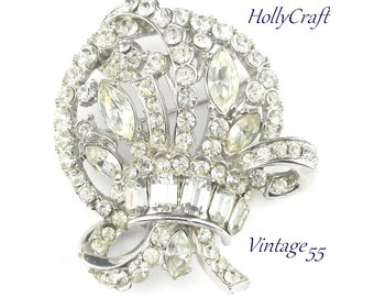 Hollycraft Brooch Rhinestone Bouquet