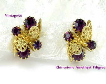 Vintage Earrings Amethyst Rhinestone Gold tone Filigree clip on