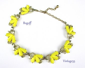 Yellow Necklace Rhinestone By Bogoff