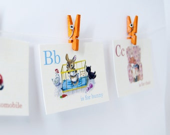 Mini - Storybook Vintage Style Flash Cards | Set of 26 Animal, Zoo, School, ABC, Alphabet, ABC flash cards,