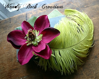 Tropical Magnolia Hair Clip, Fascinator, Wedding, Belly Dance, Tribal Fusion, Renaissance Festival, Fairy, Prom, Hair Garden