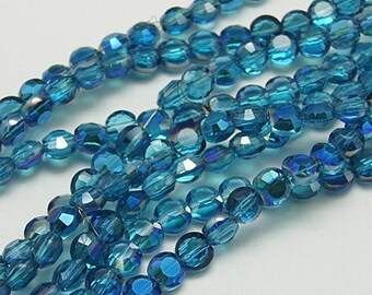 Flat Round Faceted Crystal Beads - Teal Blue with AB - Sold per strand - #CB210