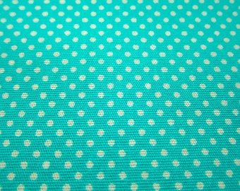 SALE Japanese Quilting Cotton Fabric - Turquoise Blue Tiny Dots Fabric By The Yard (TD09) - Half Yard