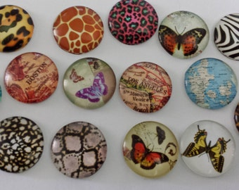 1 inch Round Cabochon Print Assortment Butterflies Maps Flag Patterns 25mm Mix
