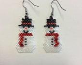 Christmas Snowman Beaded Earrings - Red Scarf