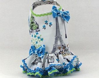 Dog Harness, Dog Fashion for Small dog, Ruffle, Pet Harness, Dog Vest, Custom Dog Harness, Blue, Paris, Eiffel Tower