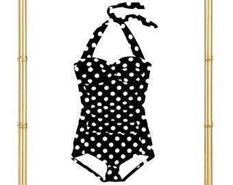 Vintage Polka Dot Swim Suit Print - Inspirational - Motivational - Beauty - Art Print - Fashion