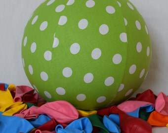 Fabric Balloon Ball Cover - TOY - Lime Green Large White Polka Dot - Great Birthday Gift