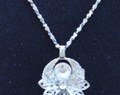 "On Sale Cute Vintage Silver tone Filigree, Crystal Angel Pendant, 20"", New Old Stock (A14)"